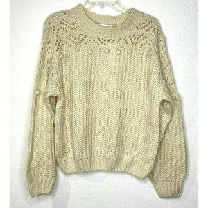All In Favor Ivory Pom Pom Chunky Sweater